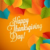 picture of happy thanksgiving  - Happy Thanksgiving greeting leaf card with polka dot background - JPG