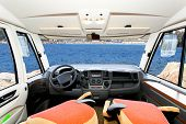 picture of camper-van  - Beautiful scenic sea view from motor home
