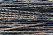 image of reinforcing  - Steel rods used to reinforce concrete in construction - JPG