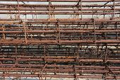 stock photo of reinforcing  - Steel rods used to reinforce concrete in construction - JPG