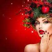 picture of beautiful lady  - Christmas Winter Woman - JPG