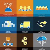stock photo of supply chain  - flat line icons of management of finance sales service  - JPG
