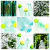 pic of reprocess  - collage and composition about recycling of glass and plastic - JPG