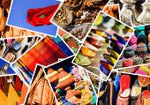 picture of woodcarving  - colorful collage and composition of objects or typical places of Morocco - JPG