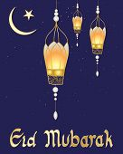 foto of crescent  - an illustration of a festive eid card with fancy lanterns crescent moon symbol and a starry dark sky - JPG