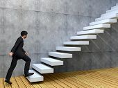 pic of climbing wall  - Concept or conceptual 3D male businessman on stair or steps near a wall background - JPG