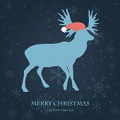 pic of roebuck  - Christmas card with reindeer in Santa - JPG