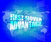 foto of movers  - first mover advantage words on digital touch screen interface - JPG
