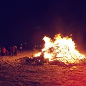 stock photo of bonfire  - Bonfire on Bonfire night in Canada with instagram effect - JPG