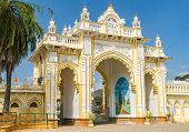 stock photo of karnataka  - The Northern gate of the Mysore Maharaja - JPG