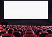 image of cinema auditorium  - Empty cinema auditorium with screen and seats - JPG