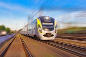picture of high-speed train  - Modern high speed train on a clear day with motion blur - JPG