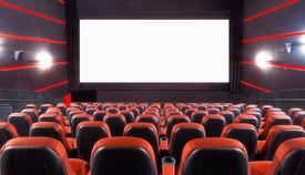 picture of cinema auditorium  - Empty cinema auditorium with screen and seats - JPG