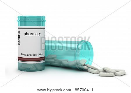 Blue pills an pill bottle on white background