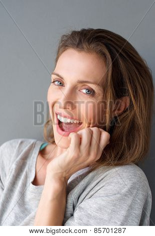 Happy Fun Mid Adult Woman Laughing