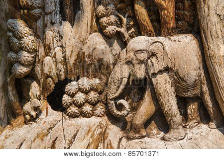 Hand Carved Elephant Wood Craft ,Thailand.