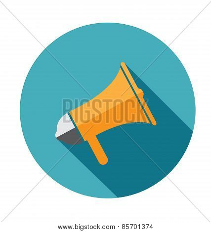 Megaphone Flat Vector Icon With Long Shadow For Social Media Marketing Concept