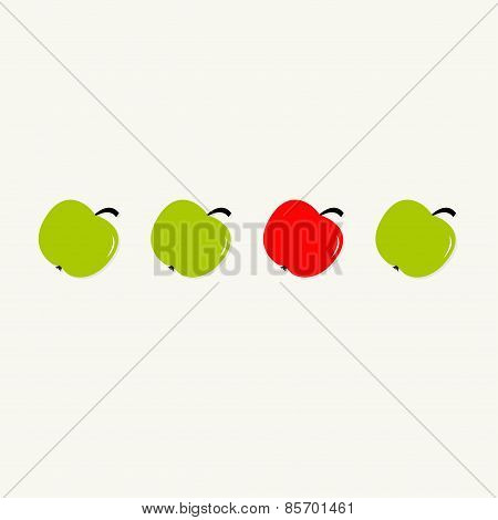 Green And Red Apple Set In A Row. Healthy Lifestyle Background. Flat Design.