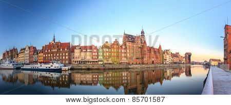 Morning panorama of Gdansk old town in Poland