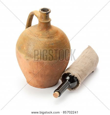 Bottle Of Wine And Old Amphora