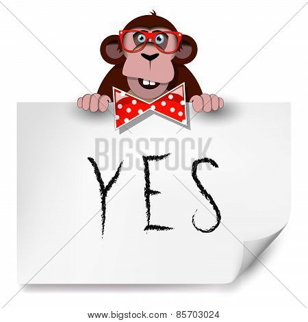 Cartoon Monkey With Glasses Holding A Sheet Of Paper On Which Is Written Yes.