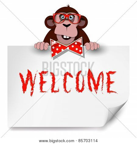 Cartoon Monkey With Glasses Holding A Sheet Of Paper On Which Is Written Welcome.