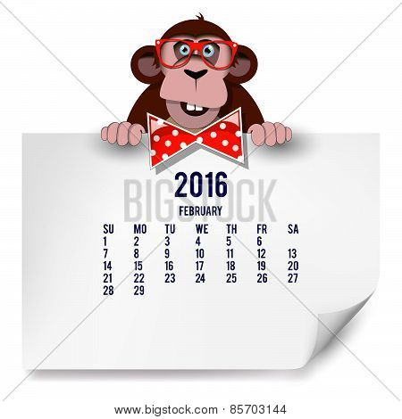 Calendar With A Monkey For 2016. The Month Of February.