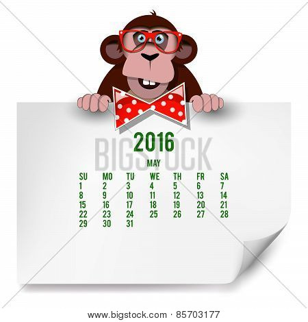 Calendar With A Monkey For 2016. The Month Of May.
