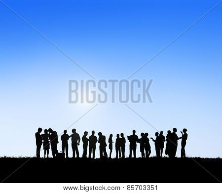 Business People Outdoors Meeting Team Teamwork Support Concept