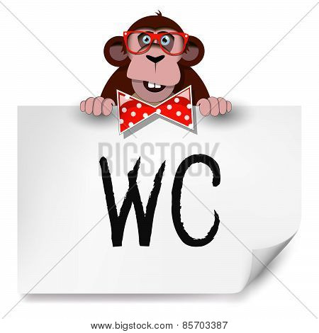 Cartoon Monkey With Glasses Holding A Sheet Of Paper On Which Is Written Toilet.