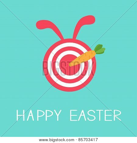 Target With Rabbit Ears And Carrot Arrow. Happy Easter Card Flat Design Background