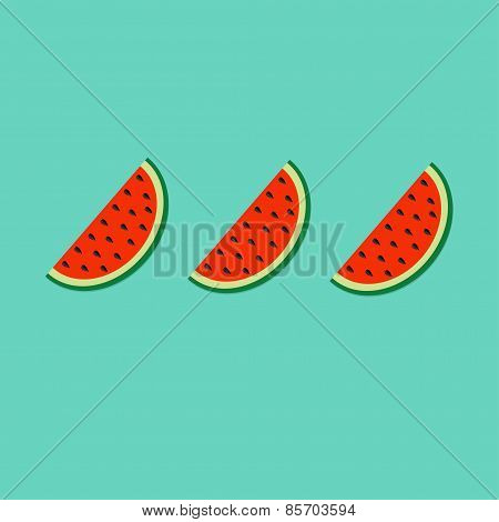 Watermelon Slice Cut With Seed In A Row Set Flat Design Icon Summer Blue Background