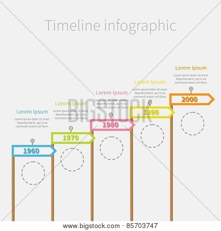 Arrow Flag On Sticks Timeline Infographic With Dash Line Circles And Text. Template. Flat Design.