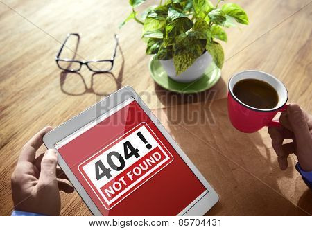 Digital Device Wireless Browsing 404 Not Found Concept