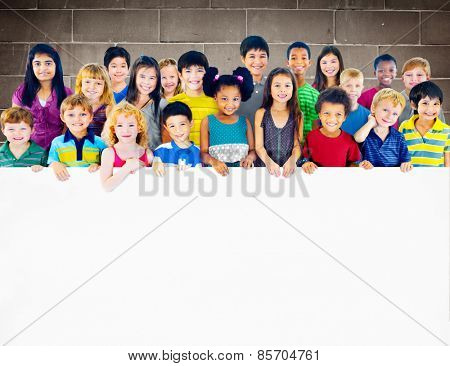 Multi-Ethnic Group of Children Holding Empty Billboard