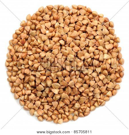 Wholegrain Buckwheat In Round Heap Shape, Isolated