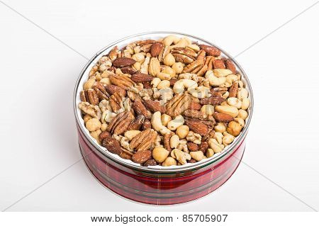 Mixed Deluxe Nuts In A Red Gift Tin