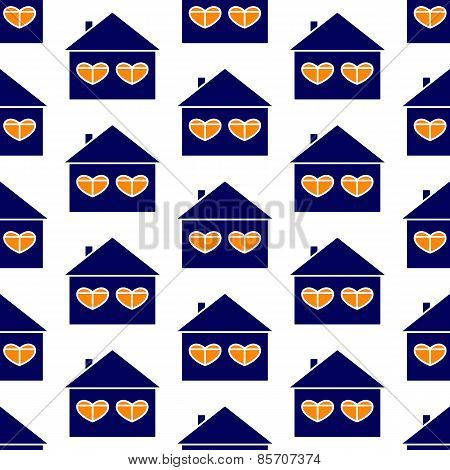 House With Hearty Windows Background
