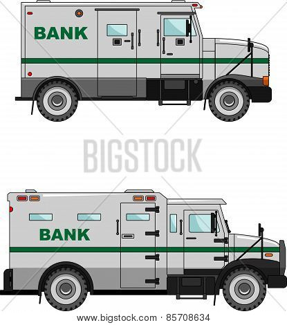 Bank armored car on a white background in a flat style