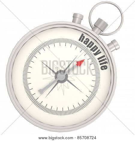 Compass With Needle Pointing The Text Happy Life