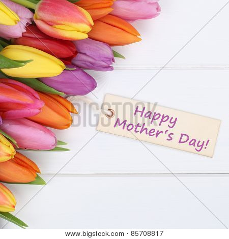 Happy Mother's Day With Colorful Tulips Flowers And Greeting Card
