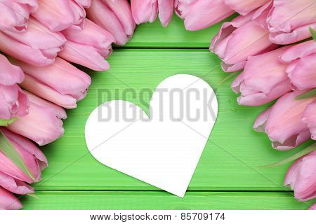Tulips Flowers With Heart Love On Mother's Or Valentine's Day