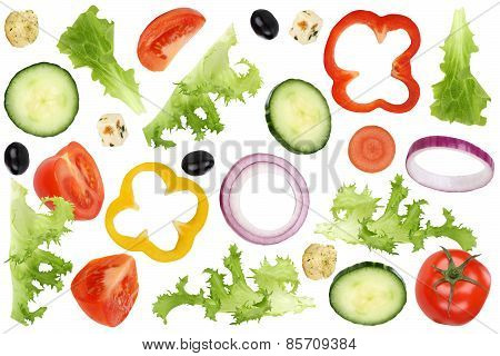 Ingredients For Flying Salad With Tomatoes, Lettuce, Onion, Olives And Cucumber