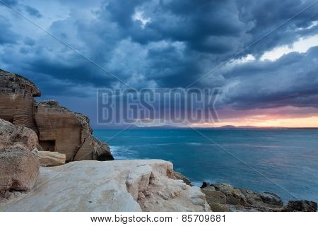 Dramatic sunrise in Favignana, Sicily