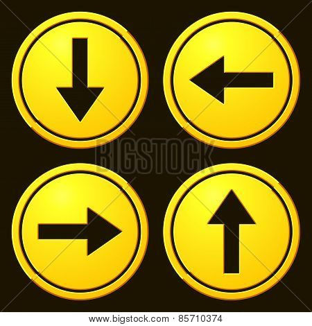Directional Arrows Yellow Signs