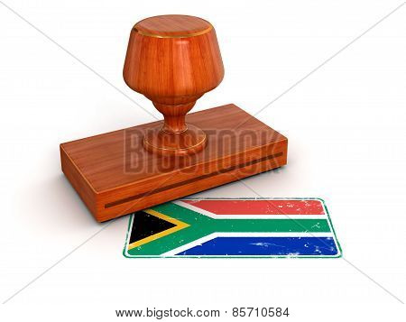 Rubber Stamp South Africa flag (clipping path included)