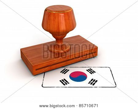 Rubber Stamp South Korean flag (clipping path included)