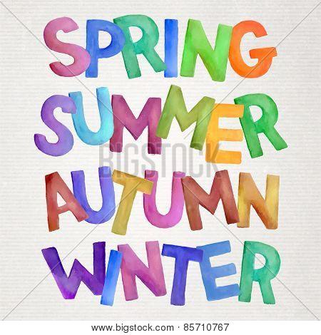 seasons vector watercolor lettering.