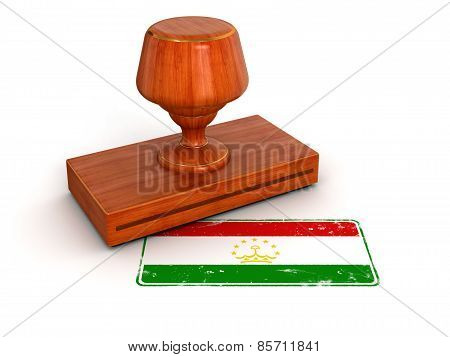 Rubber Stamp Tadjik flag (clipping path included)