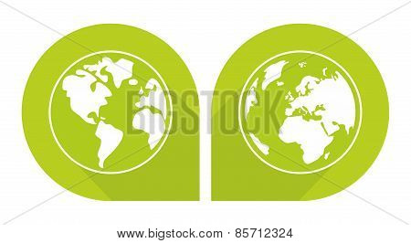 Planet Earth green vector on white background